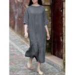 New Plus Size Elegant Women Crew Neck Half Sleeve Loose Dress