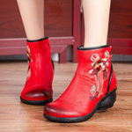 New Retro Embroidery Genuine Leather Zipper Ankle Boots