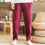 New Mens Thick Winter Linen Chinese Style Loose Casual Pants