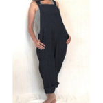 New Women Solid Strap Sleeveless Overalls  Jumpsui