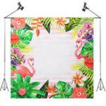 New 5x5FT Flamingo Flower Theme Photography Backdrop Studio Prop Background