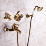 New Antique Brass Shower Head Bathroom Tub Faucet Hand Held Tap Spray Waterfall Set