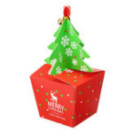 New Christmas Tree Shaped Gift Cookie Candy Carrier Boxes Favor Bag Xmas Party Decorations