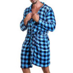 New Mens Plaid Prinitng Flannel Bathrobe Sleepwear Short Robe