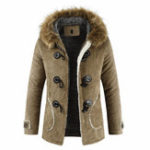 New Men Furry Hooded Fleece Thick Warm Winter Toggle Coat Jacket