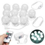 New AC100-240V 10PCS Dimmable Mirror Makeup Dressing LED Light Bulbs Kit + RF Remote Control + EU Plug