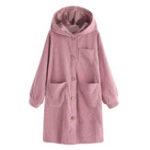 New Women Long Sleeve Hooded Trench Corduroy Coats