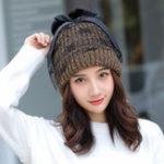 New Women Winter Warm Knitted Hat Mesh Gauze Knit Cap