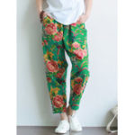 New Retro High Waist Chinese Style Floral Print Pants
