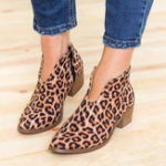 New Leopard Grain Chunky Heel Zipper Ankle Short Boots