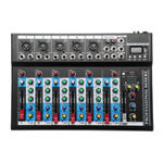 New 7 Channel USB Portable Monitor Mixer Bluetooth Live Studio Audio Mixing Console for Karaoke DJ