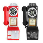 New Antique Rotary Dial Pay Phone Model Vintage Phone Booth Call Telephone Figurine Decorations Gift