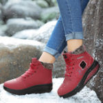 New Women Comfy Warm Suede Lace Up Snow Ankle Boots