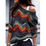 New Women Casual Geometric Print Long Sleeve Tops Blouse
