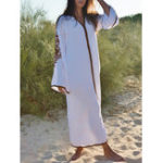New Retro Women Loose Folk Style V-Neck Long Sleeve Maxi Dress