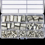 New 117Pcs M3-M12 Rivet Nut 304 Stainless Steel Threaded Flat Head Insert Nutsert Assortment