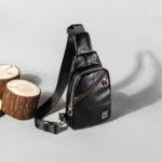 New Men Faux Leather Chest Bag Travel Daypack Crossbody Bag