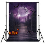 New 5x7FT Pumpkin Lantern Purple Halloween Horror Theme Photography Backdrop Studio Prop Background