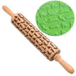 New 43CM Cute Cat Patterned Wooden Embossed Rolling Pin Engraved Roller Biscuit Cookies Baking Tools