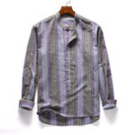 New Mens Vintage Striped Cotton Popover Shirts