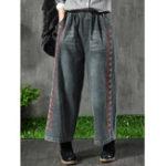 New Embroidery Elastic Waist Pocket Denim Jeans