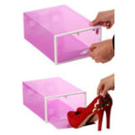 New Bear-shaped Sliding Door Plastic Storage Shoe Box Thicken Transparent Combinable Drawer Organizer
