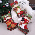 New Large Stocking Christmas Tree Decoration Santa Claus Snowman Gift Candy Bag Christmas Decor