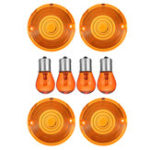 New 4pcs Amber Turn Signal Lights Lens Cover with Bulbs For Harley Touring Road King VRSC