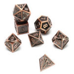 New 7pcs Embossed Heavy Metal Polyhedral Dices Multisided Dices Set RPG With Bag