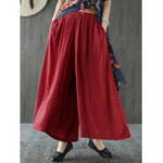 New Women Solid Color Elastic Waist Casual Loose Pants