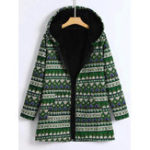 New Women Cotton Print Hooded Zipper Coats with Pockets