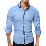 New Mens Casual Solid Color Slim Fit Shirts