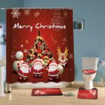 New 180x180cm Bathroom Shower Curtain Hook Ring Set Mildew Splash Christmas Waterproof Decor Non Slip
