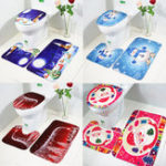 New 3Pcs Set Merry Christmas Toilet Seat Covers Non-Slip Snowman Bathroom Sets Pedestal Rug Lid Toilet Cover Bath Mat