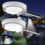 New 2pcs 3W 28LED Solar Powered PIR Motion Sensor Waterproof Wall Light Street Lamp