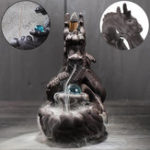 New Porcelain Dragon Backflow Incense Burner Ceramic Censer Cone Holder With Glass Ball