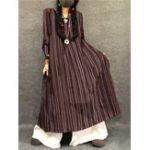 New M-5XL Vintage Women  Striped Crew Neck Long Sleeve Dress
