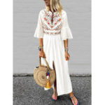 New Plus Size Boho Women V-neck Flare Sleeve White Maxi Dress
