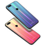 New Bakeey Laser Gradient Bling Tempered Glass Shockproof Protective Case For Xiaomi Mi 8 Lite