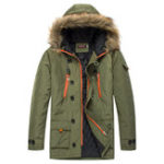 New Mens Winter Thick Jacket Detachable Faux Fur Hooded Multi Po
