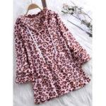 New Women Retro Fleece Leopard Print Hooded Sweatshirt