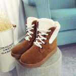 New Casual Comfy Lace Up Winter Warm Ankle Boots