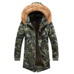 New Mens Winter Parka Faux Fur Hooded Camouflage Multi Pockets
