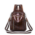 New Women Faux Leather Solid Vintage Backpack Travel