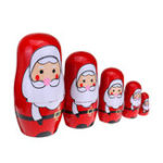 New 5PCS Russian Doll Wooden Nesting Doll Handcraft Decoration Christmas Gifts