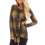 New Women Plaid Crew Neck Long Sleeve Button T-shirt Blouse