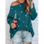 New Star Print O-neck Loose Casual Blouse