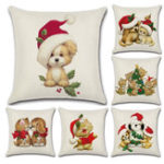 New Merry Christmas Lovely Cats Dogs Cushion Covers Pillow Case Seat Sofa Pillow Cover Linen Cotton Square Cushion Cover Party Decor