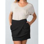 New Women Elastic Back Zipper Knitted Irregular Skirts