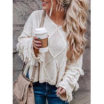 New Women Solid Color Crew Neck Long Sleeve Sweaters